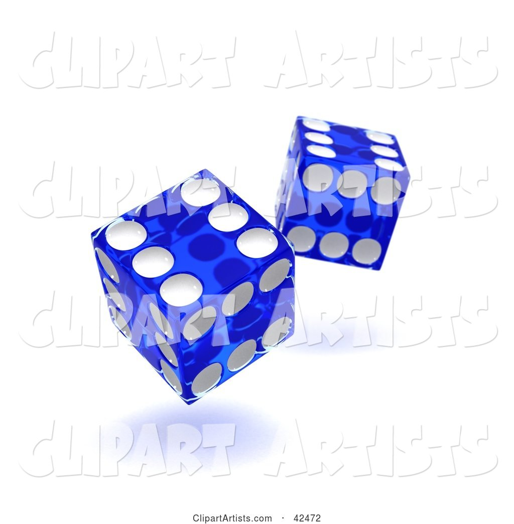Two Blue and White Tumbling Dice