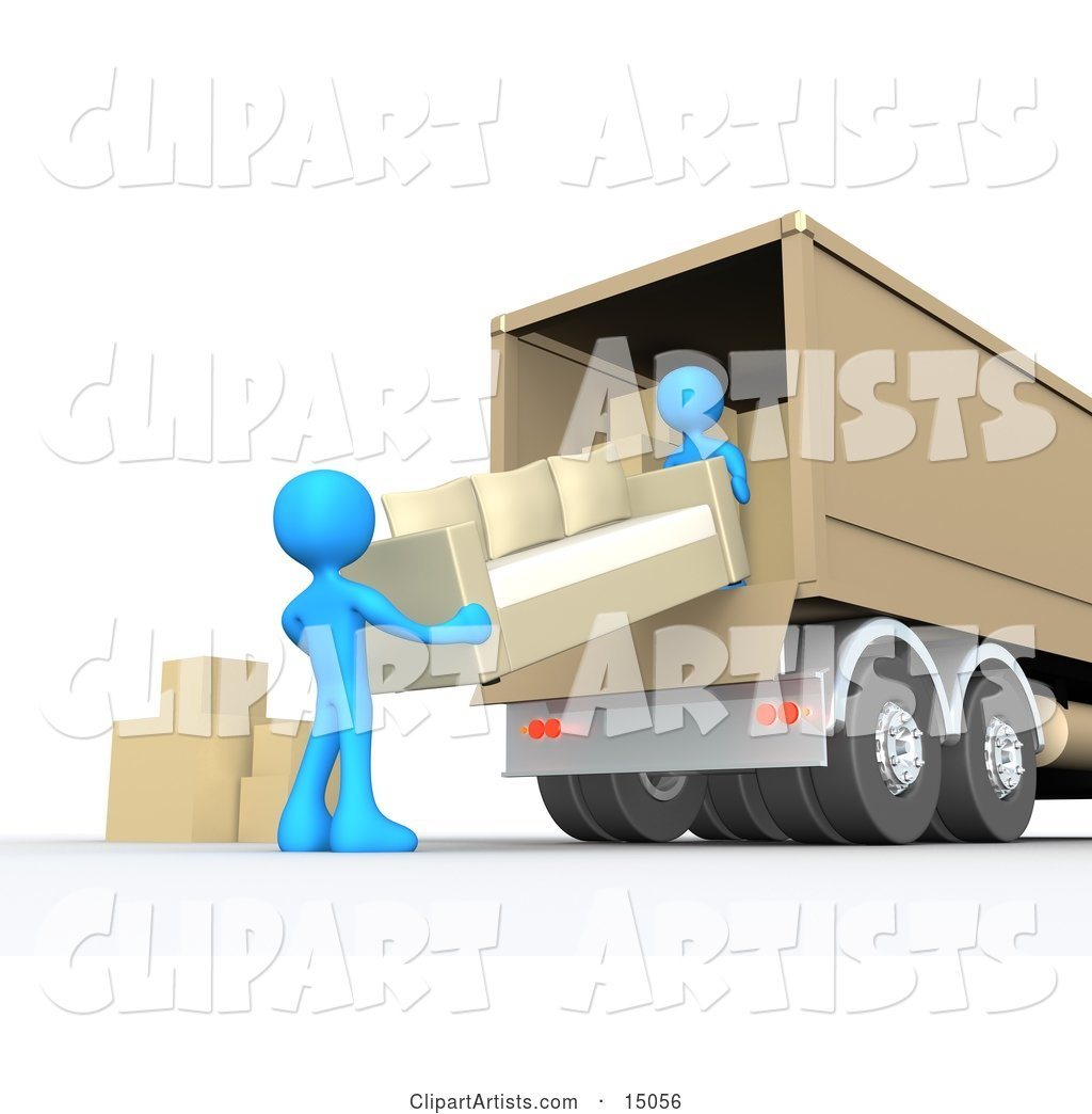 Two Blue Male Figures Lifting and Loading or Unloading a Beige Living Room Sofa and Boxes into a Brown Moving Truck