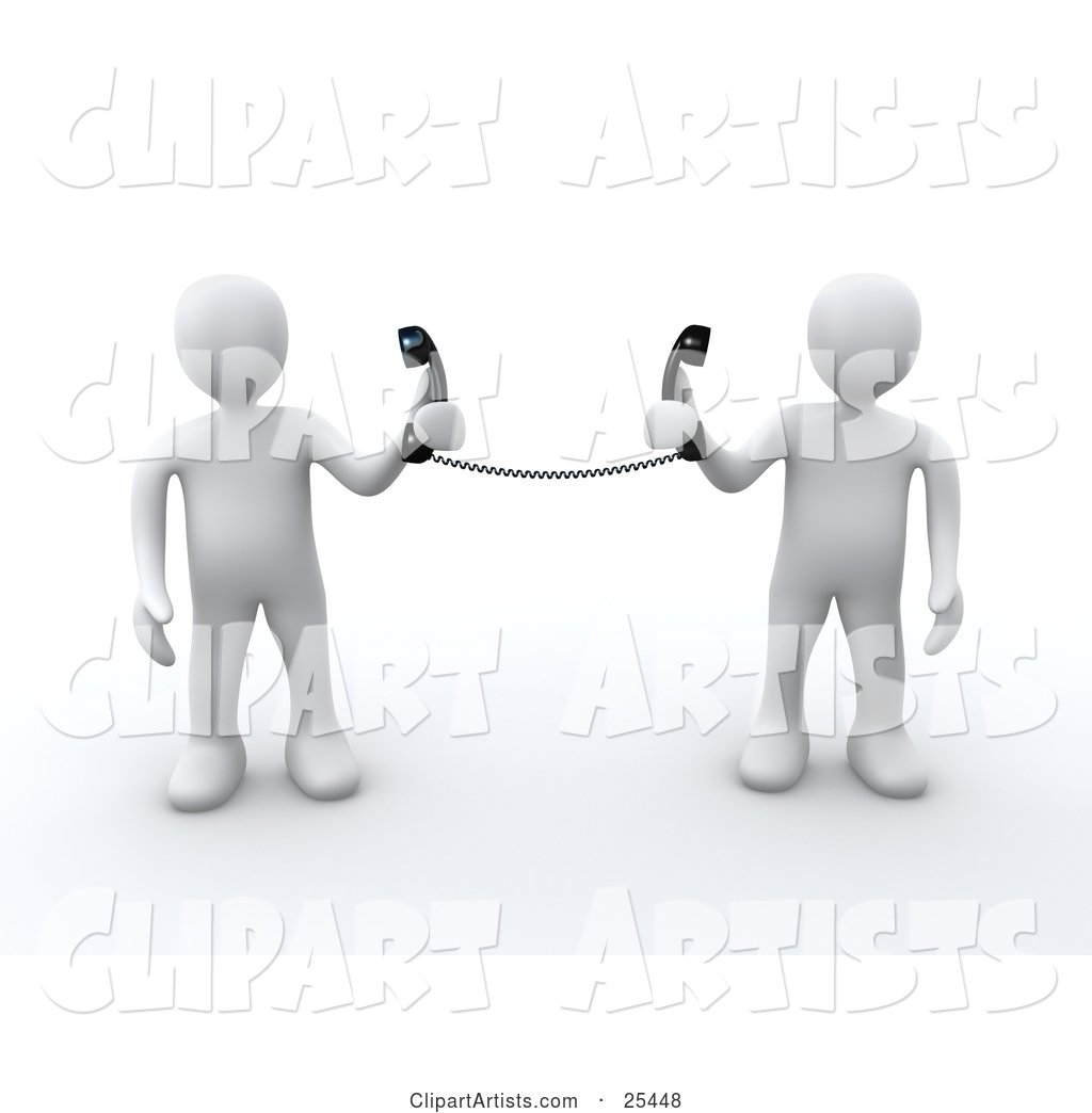 Two White People Holding Telephone Receivers Attached to the Same Cord, Symbolizing Long Distance, Local Calls and Customer Service