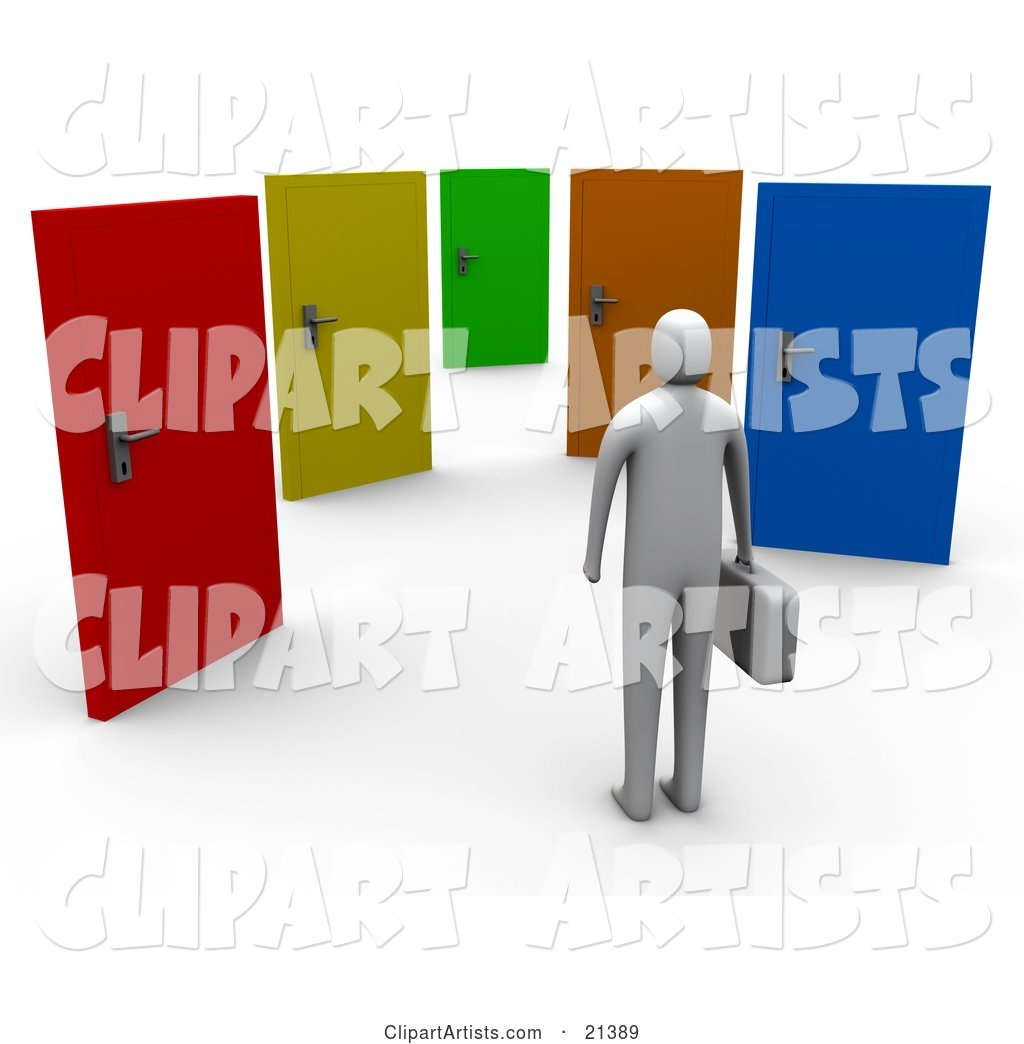 Uncertain Gray Person Standing Before Colorful Doors of Opportunities
