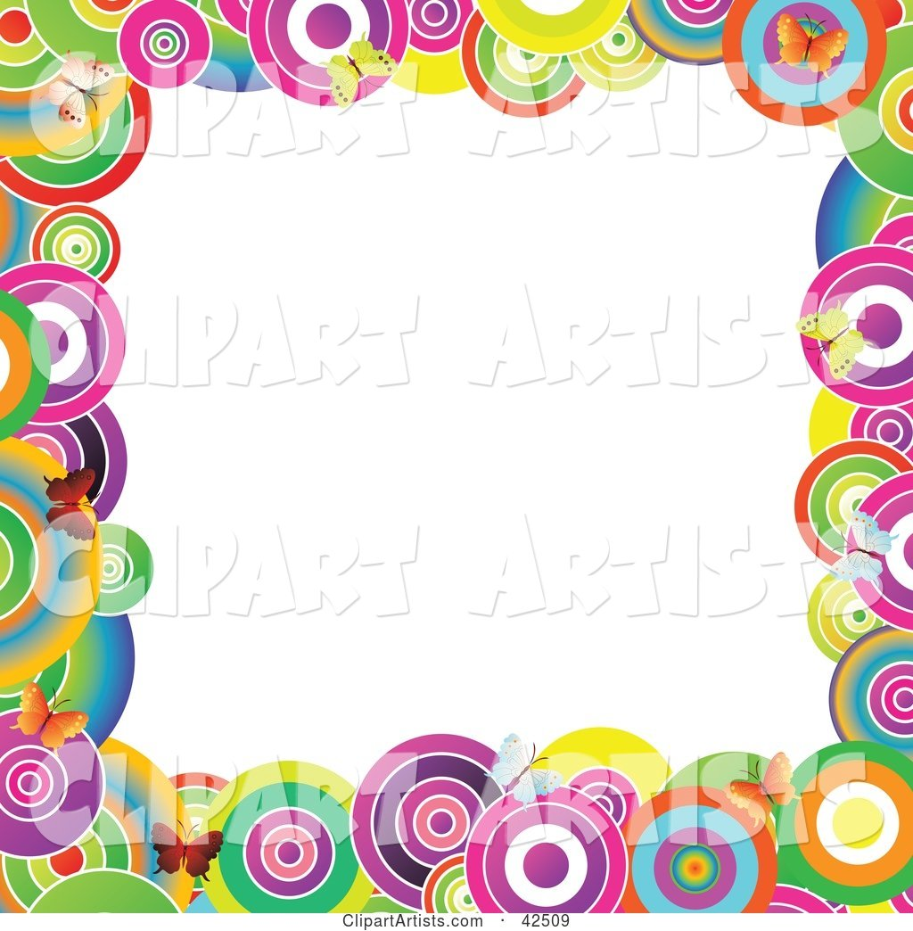 Vibrantly Colored Circle and Butterfly Frame Around a White Center