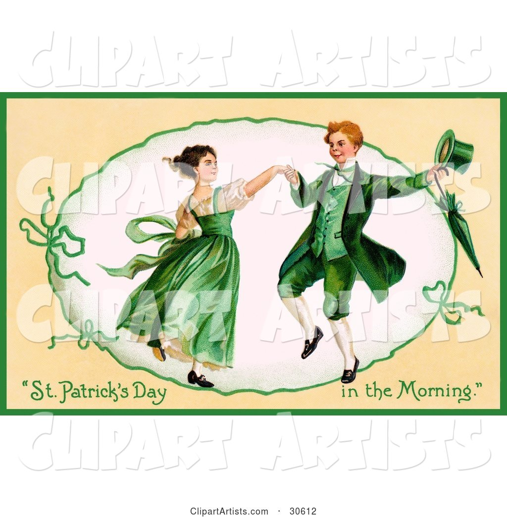 Vintage Victorian St Patrick's Day Scene of a Happy Young Irish Couple Dressed in Green and Dancing, Circa 1909