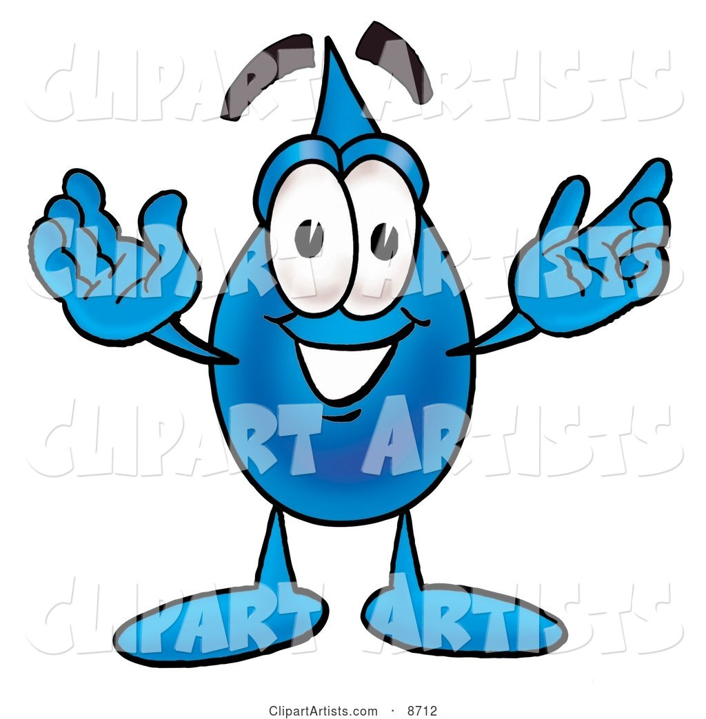 Water Drop Mascot Cartoon Character with Welcoming Open Arms