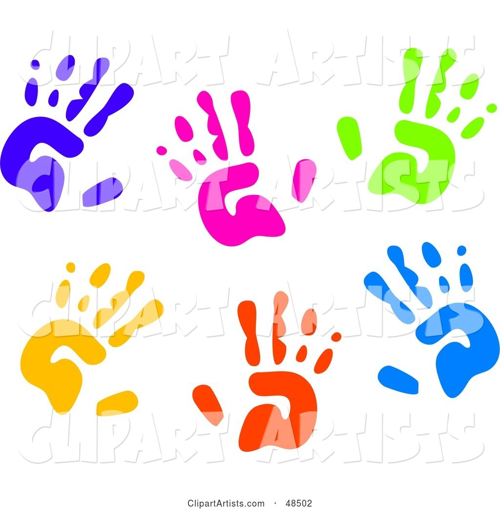White Background of Colorful Hand Prints