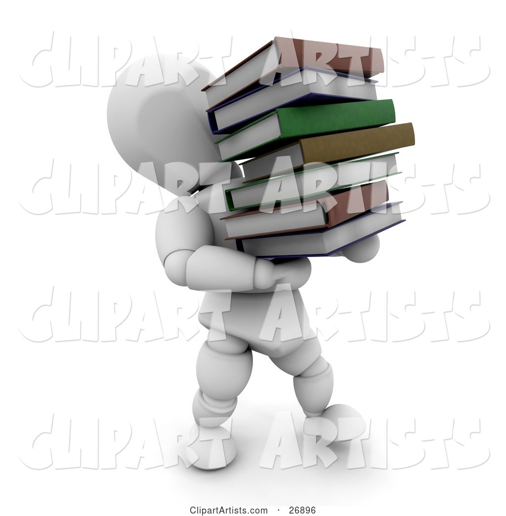 White Character Carrying a Heavy Stack of School or Library Books