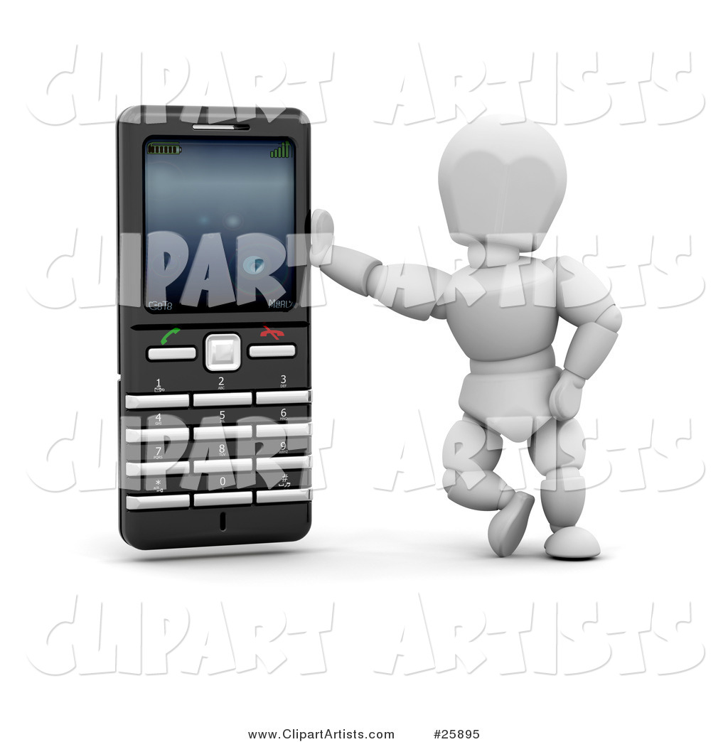 White Character Leaning Against a Black and Silver Cell Phone, over White