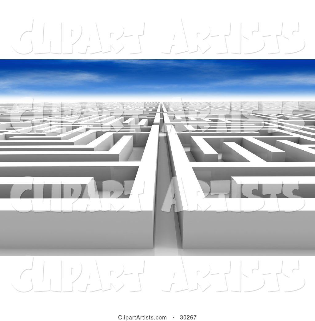 White Maze of Paths, Never Ending and Leading off into the Distance, Under a Blue Sky