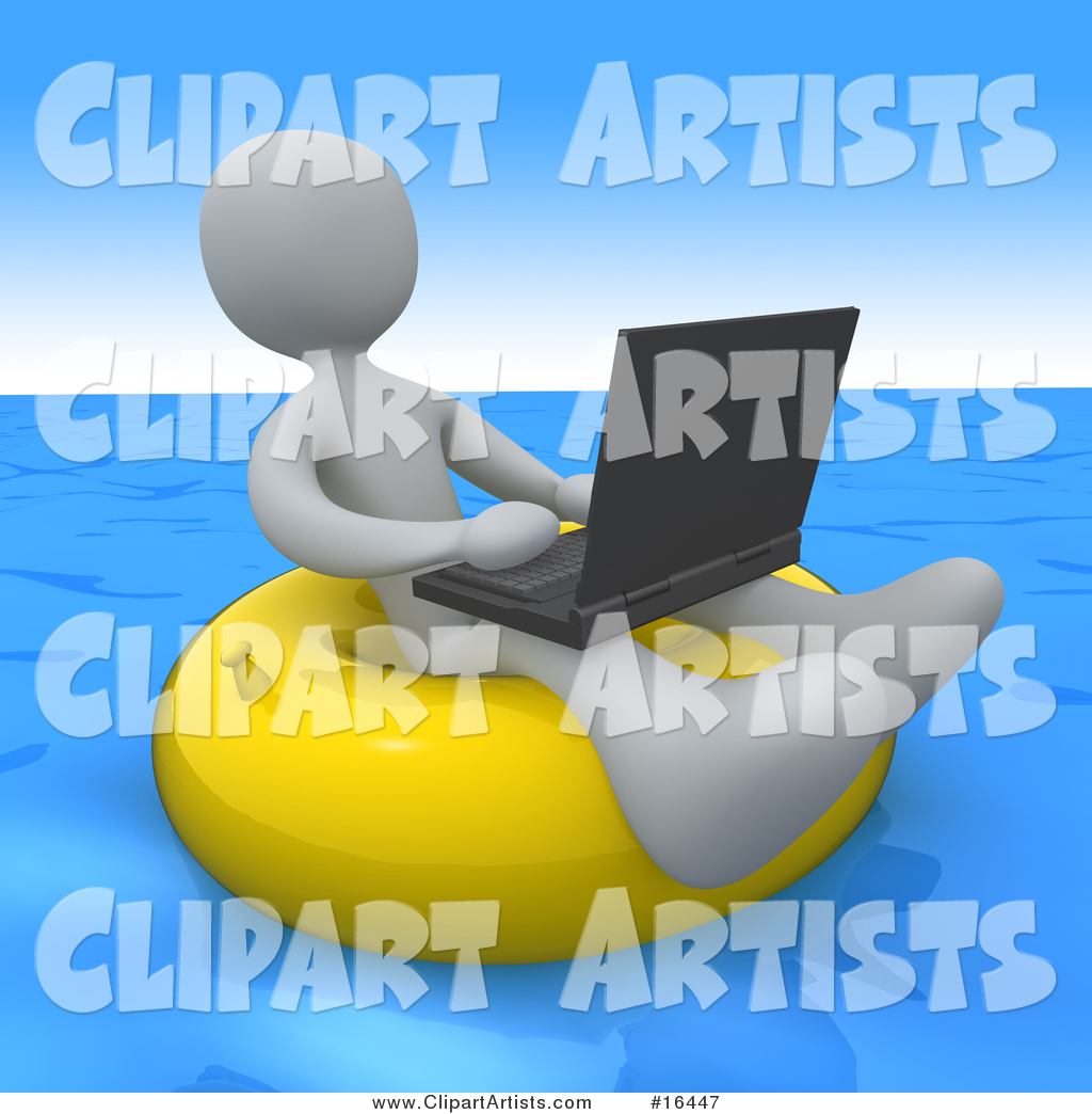 White Person, a Workaholic, Floating on a Yellow Inner Tube in the Ocean While Typing on a Laptop Computer