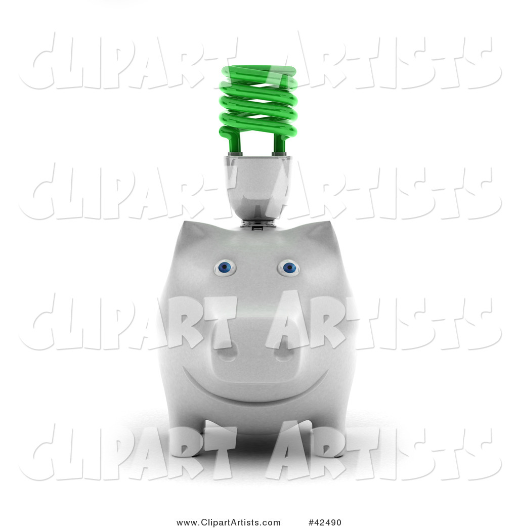 White Piggy Bank with a Green Spiral Bulb on Its Back