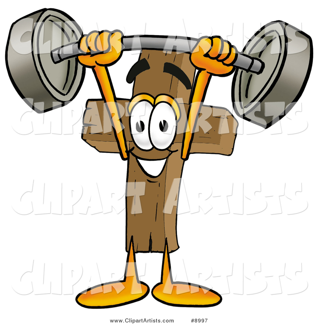 Wooden Cross Mascot Cartoon Character Holding a Heavy Barbell Above His Head
