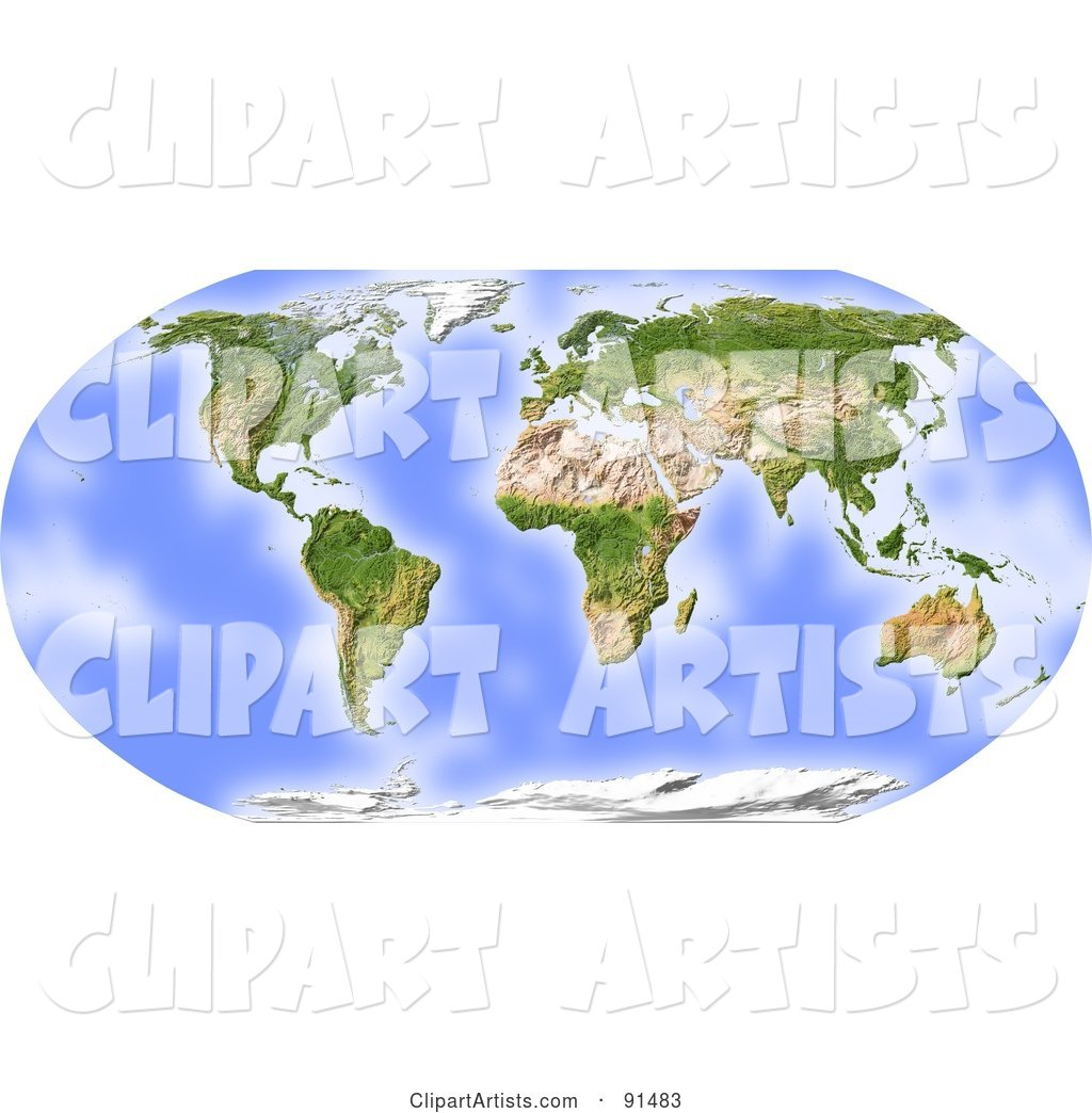 World Map, Shaded Relief in Robinson Projection, Centered on Africa