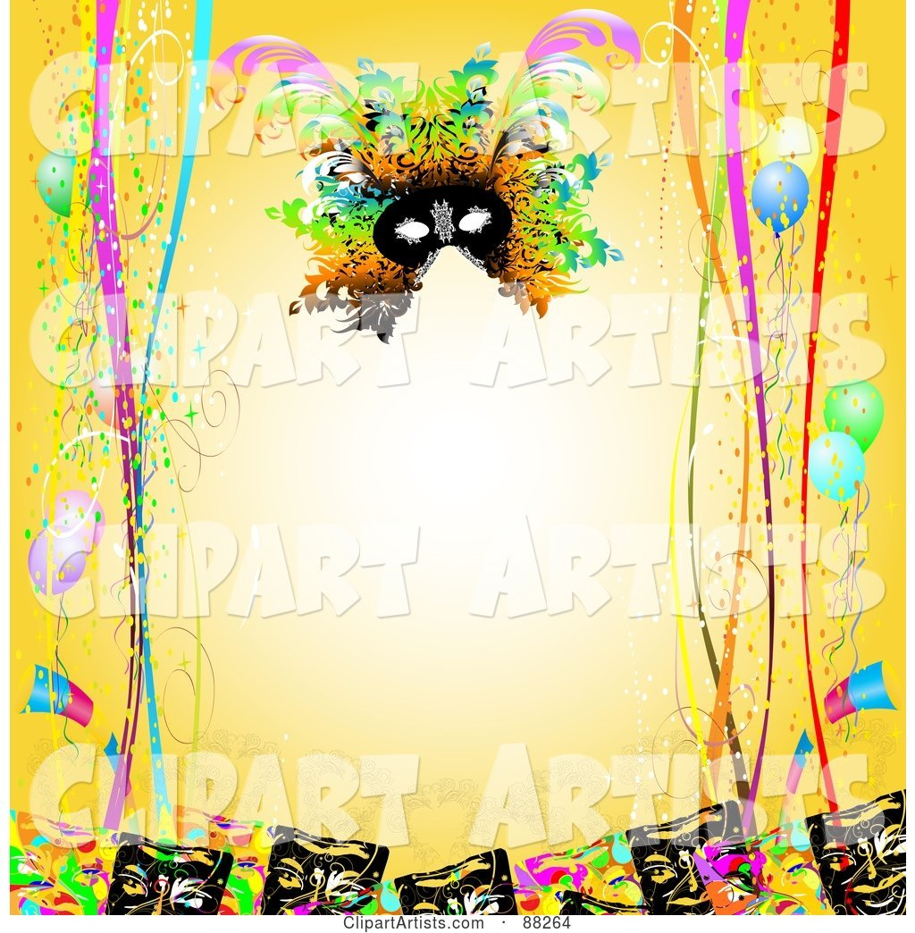 Yellow Background Bordered with Carnival Masks, Confetti, Ribbons and Balloons