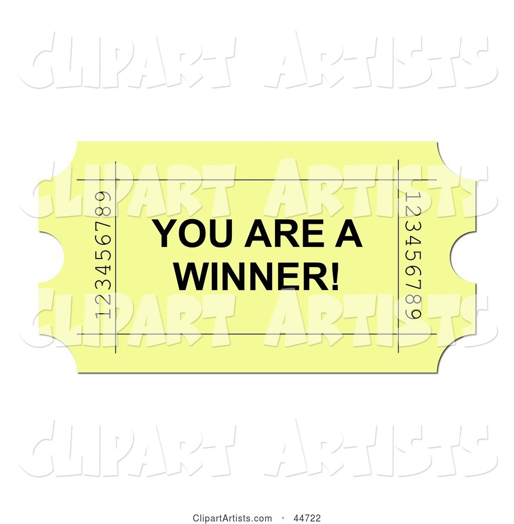 Yellow You Are a Winner Ticket
