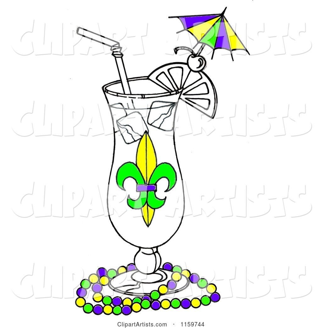 1159744 - Mardi Gras Cocktail in a Hurrcane Glass with Beads