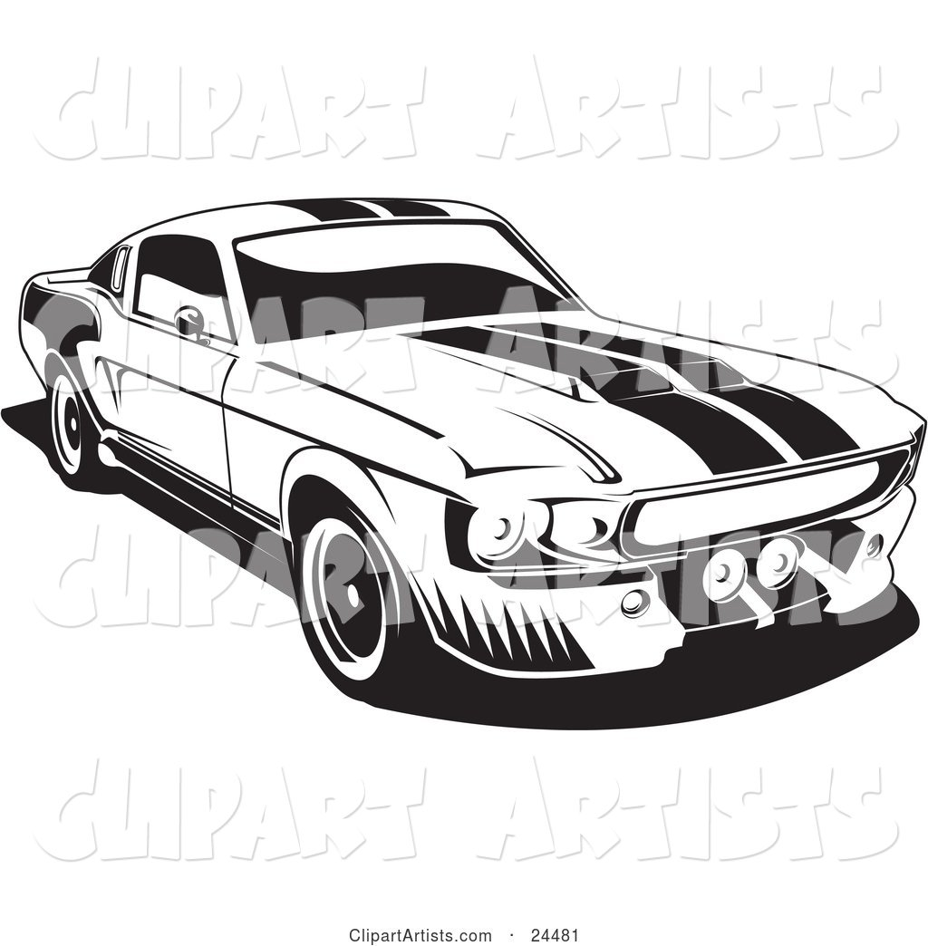 1967 Ford Mustang Gt500 Muscle Car with Racing Stipes on the Hood and Roof