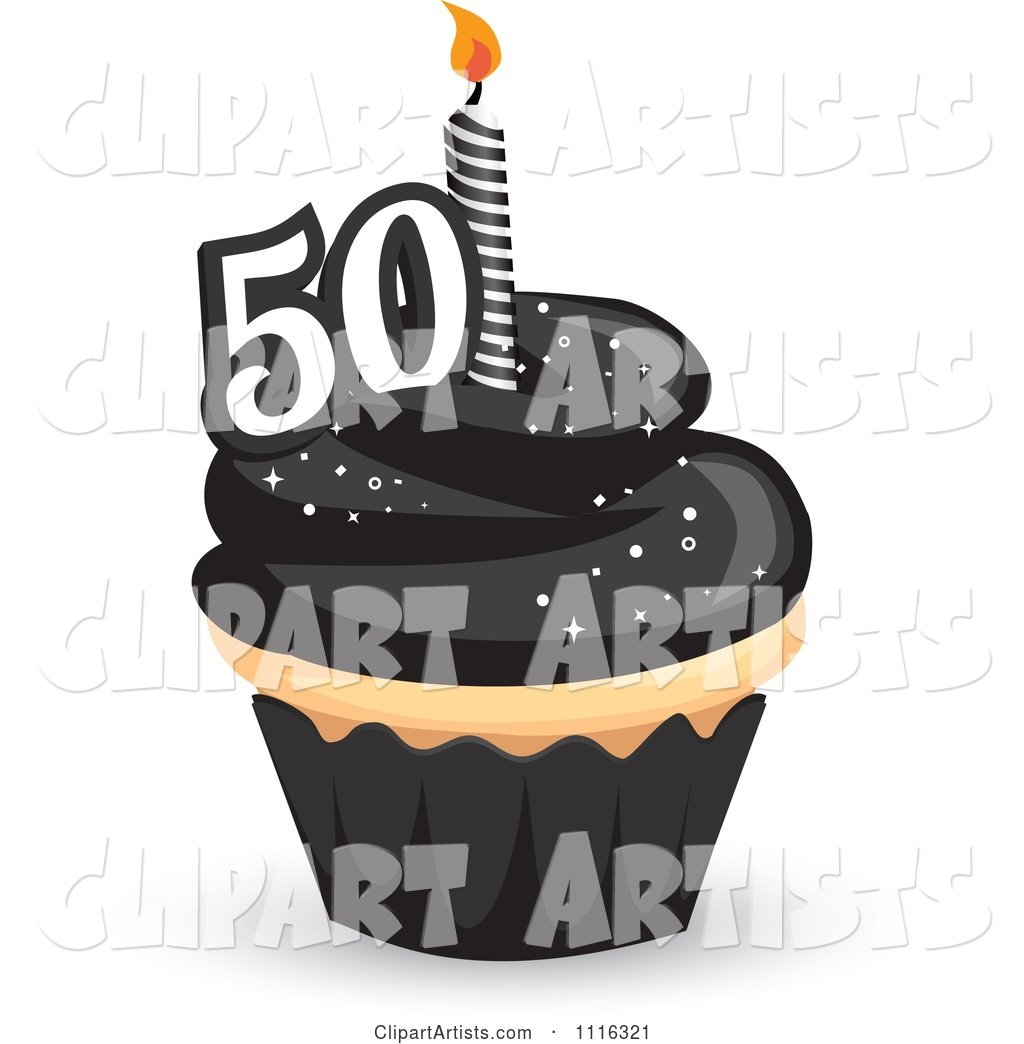 50th Birthday Cupcake with Black Frosting and a Candle