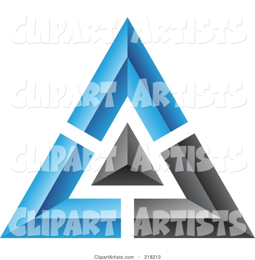 Abstract Blue and Black Pyramid or Triangle Icon