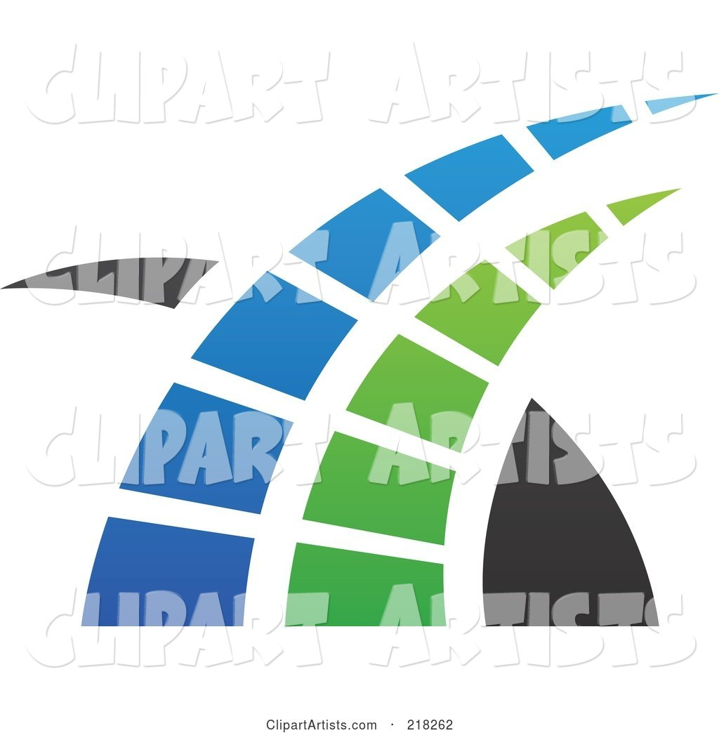 Abstract Blue, Green and Black Swoosh Logo Icon - 1