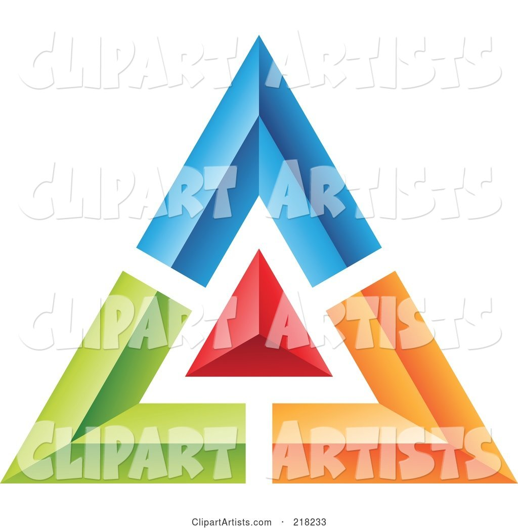 Abstract Blue, Green, Red and Orange Pyramid or Triangle Icon