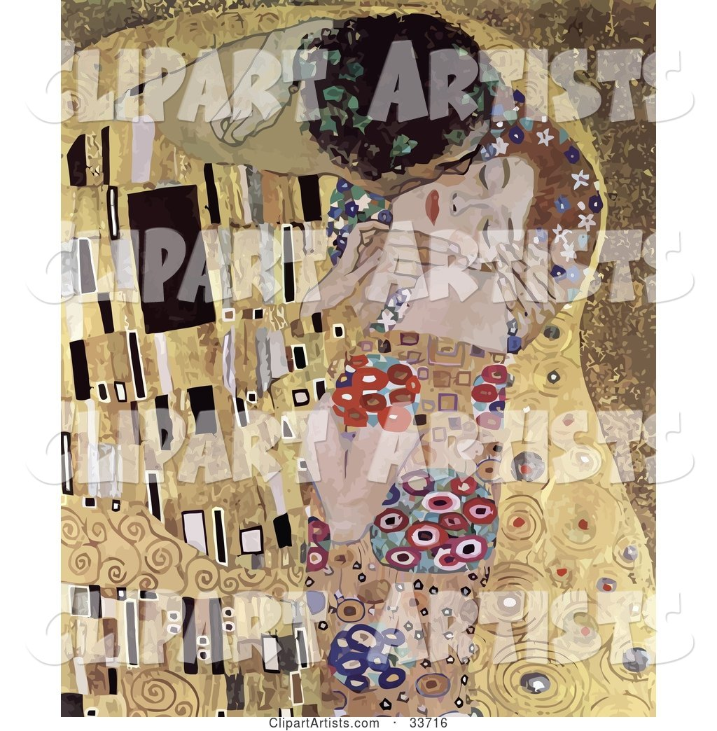 Abstract Couple Kissing and Embracing, Original Titled the Kiss by Gustav Klimt