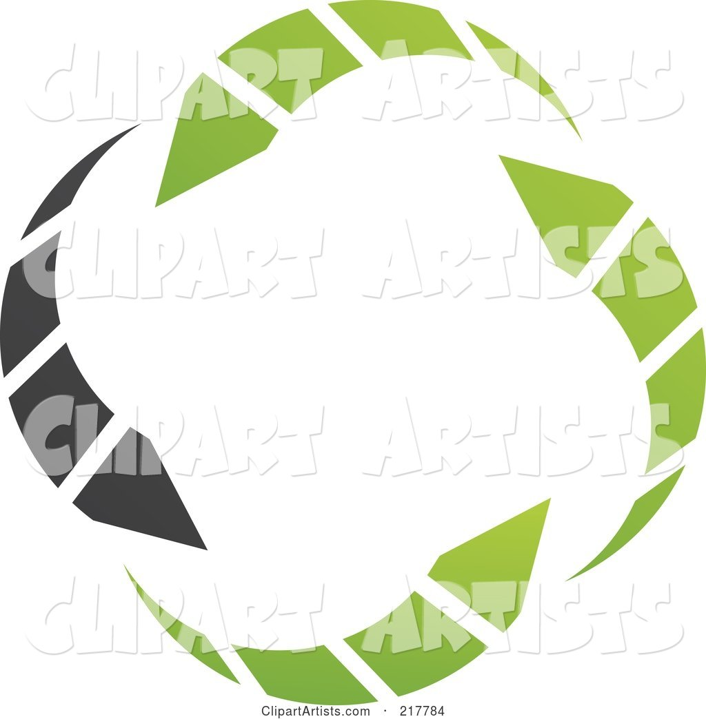 Abstract Green and Black Circle Arrow Logo Icon