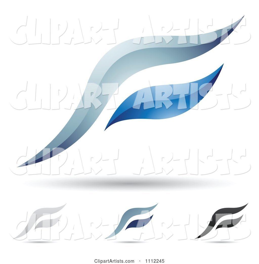 Abstract Letter F Icons with Shadows 6