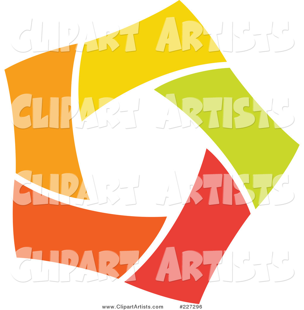 Abstract Orange, Green, Red and Yellow Star Logo Icon - 4