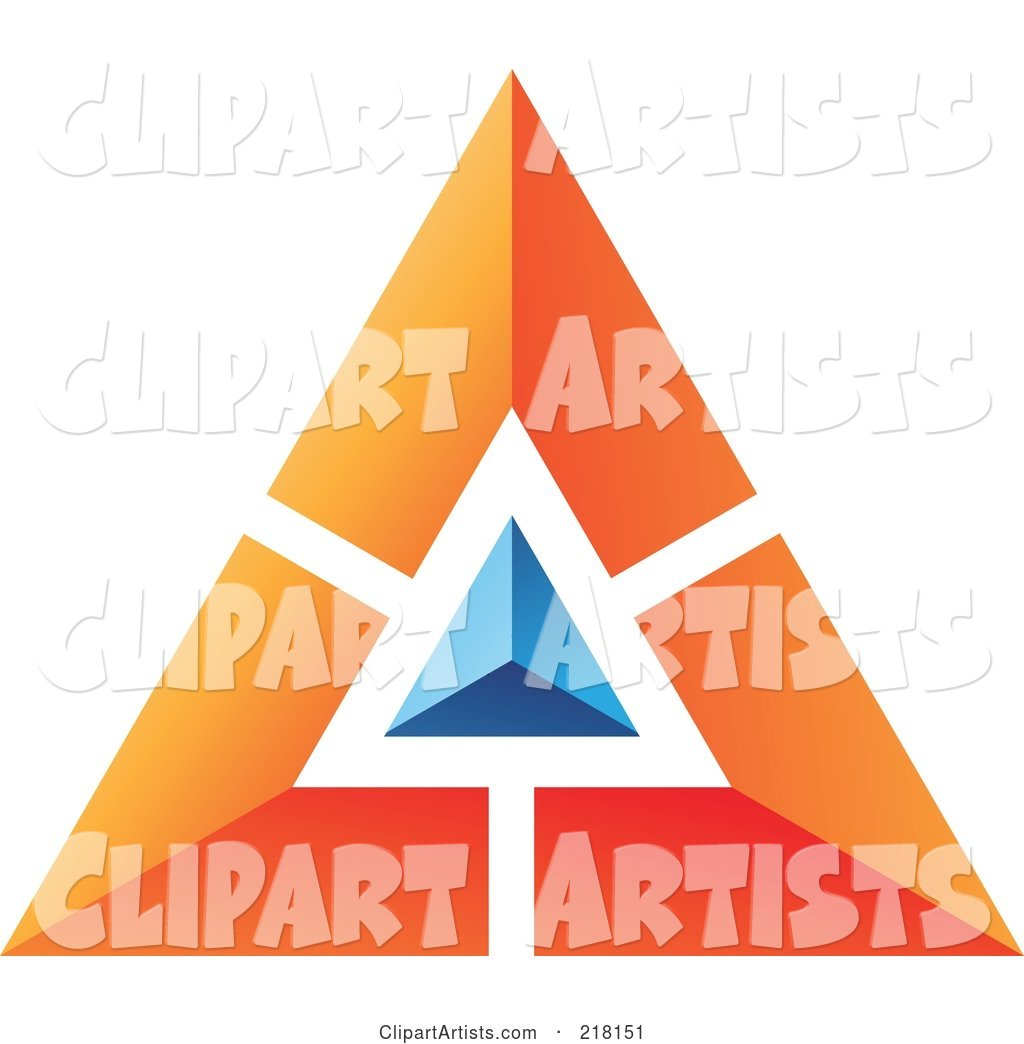 Abstract Orange Pyramid or Triangle Icon with a Blue Top