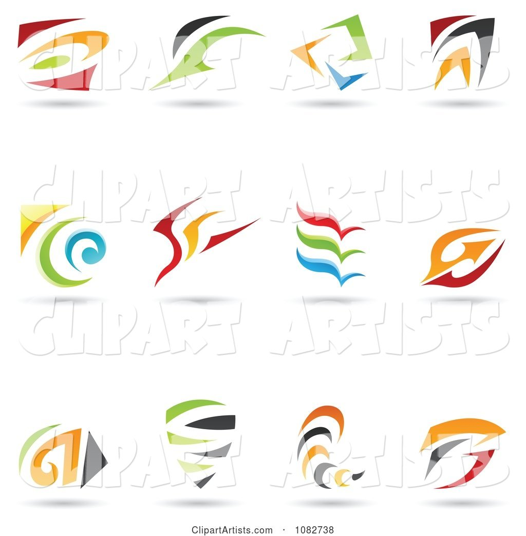 Abstract Spiral and Swoosh Logos
