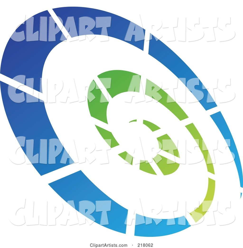 Abstract Tilted Green and Blue Spiral Logo Icon