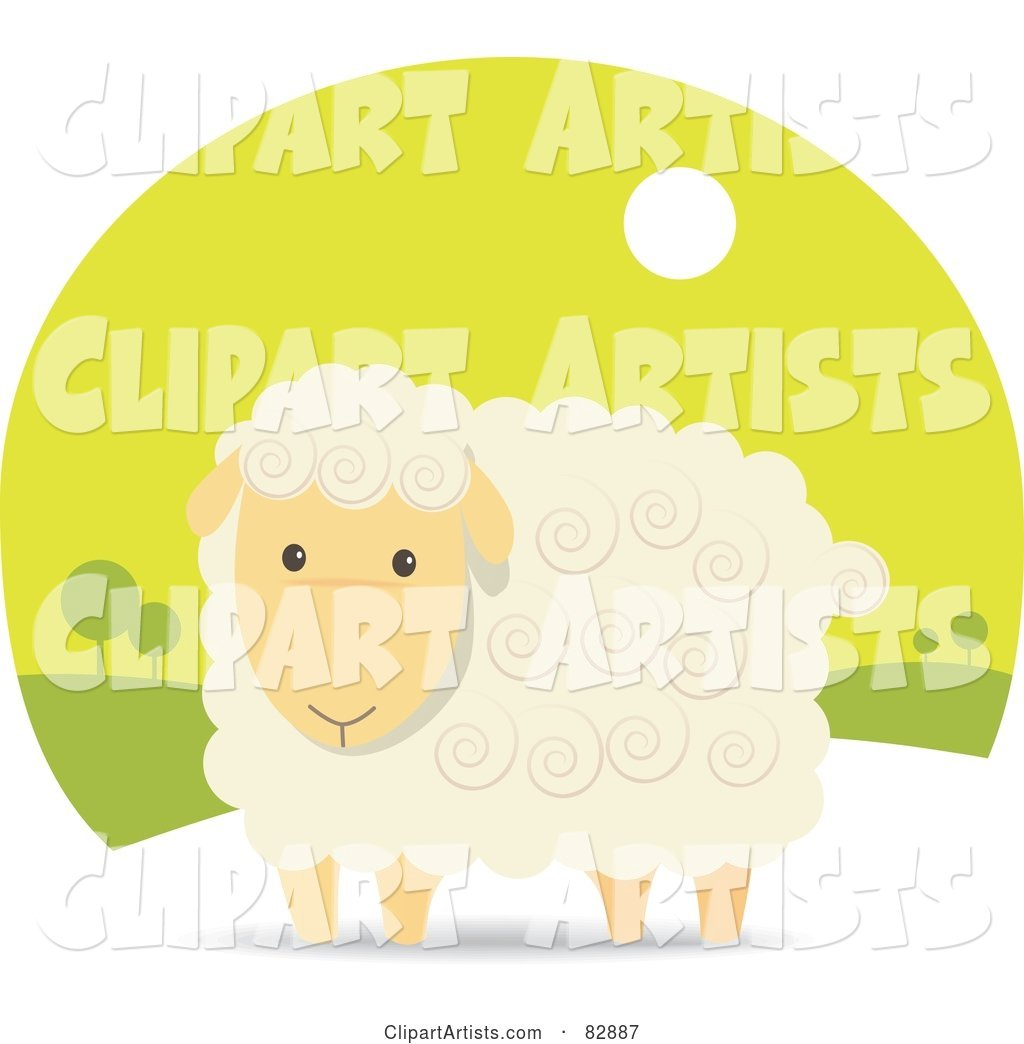 Adorable Beige Sheep with Swirls in His Hair, in a Green Landscape