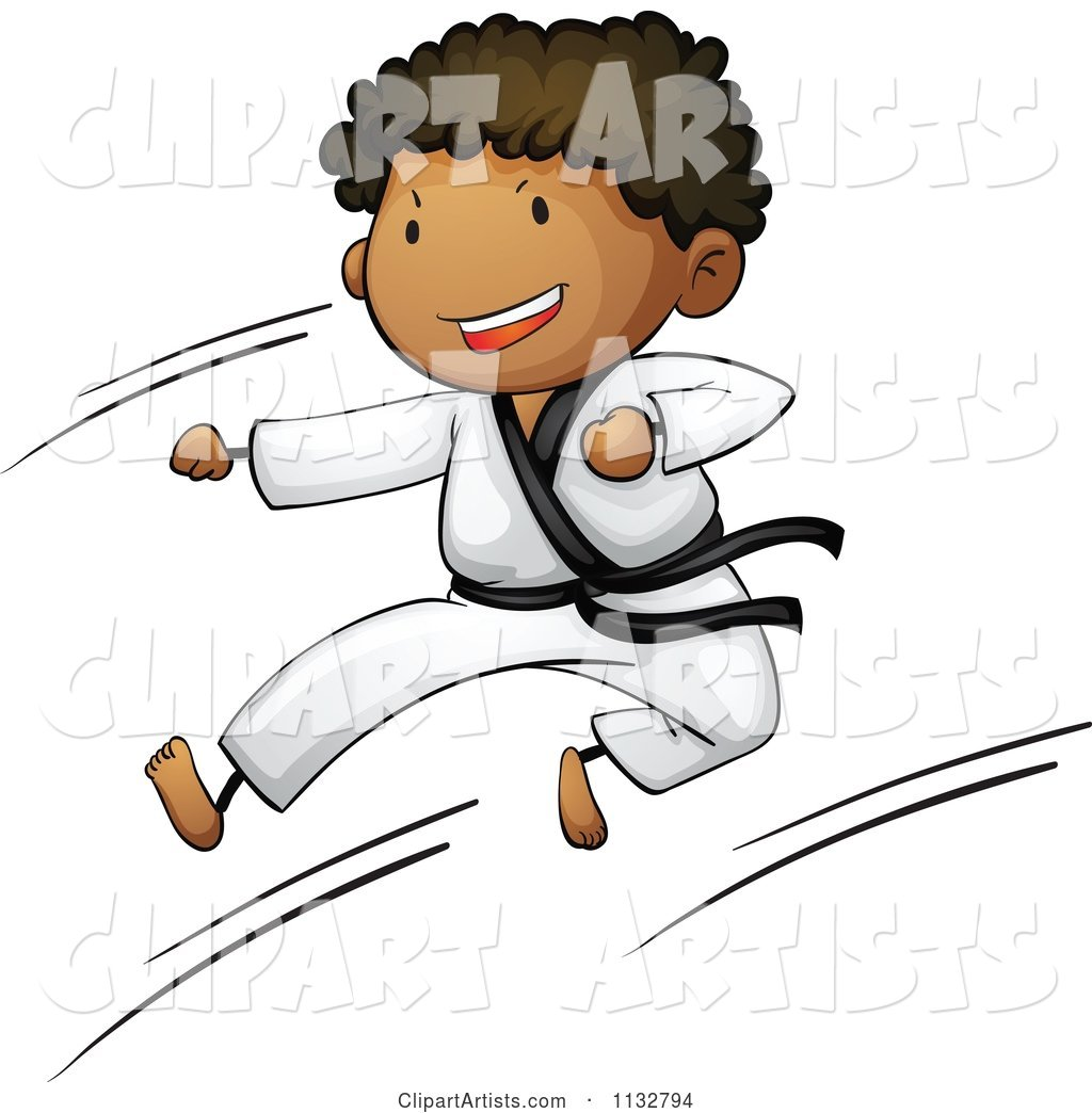 African American Black Belt Karate Boy Kicking
