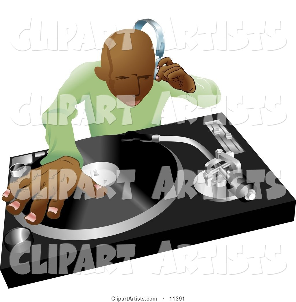 African American DJ Mixing His Records and Listening Through Headphones