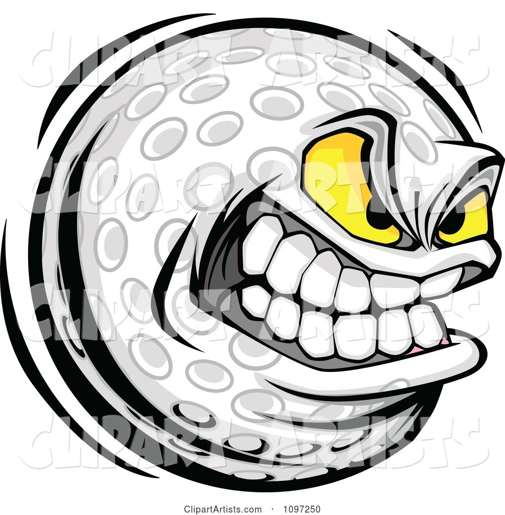 Aggressive Grinning Golf Ball Mascot