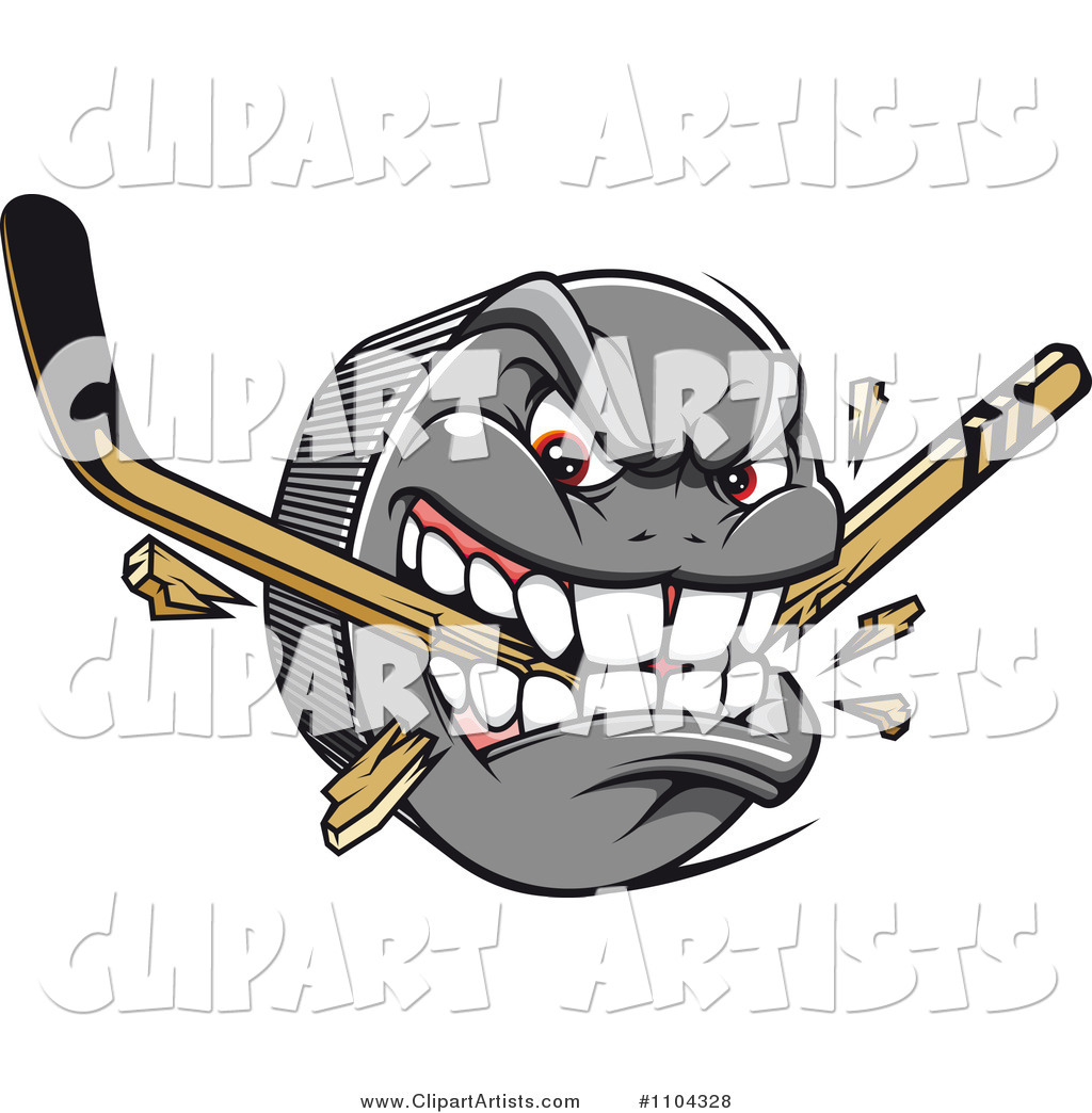 Aggressive Hockey Puck Biting and Snapping a Stick