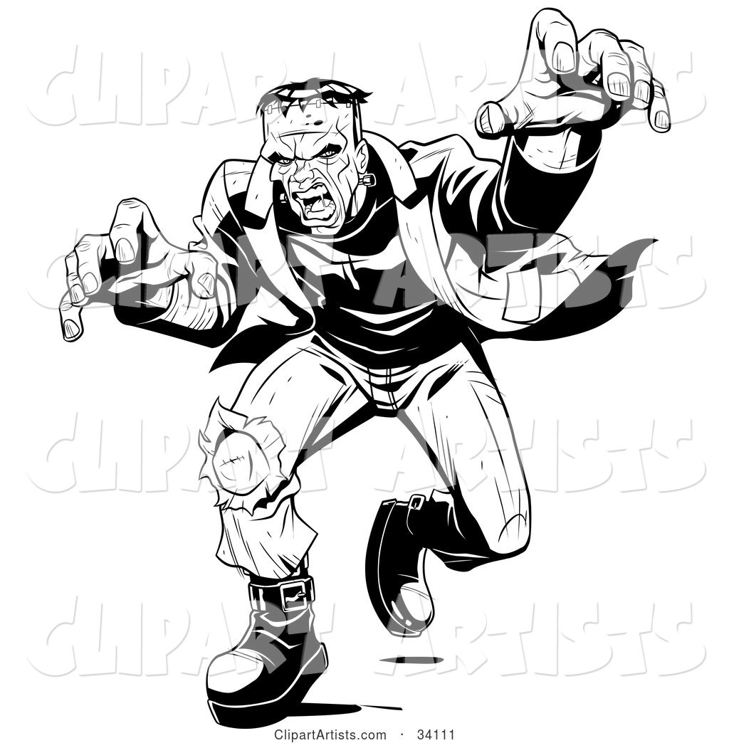 Angry Frankenstein Lunging Forward to Attack, His Massive Hands Extended Towards the Viewer