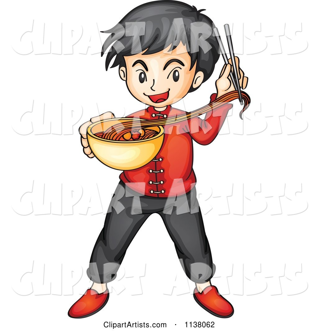 Asian Boy with Chopsticks and a Bowl of Noodles