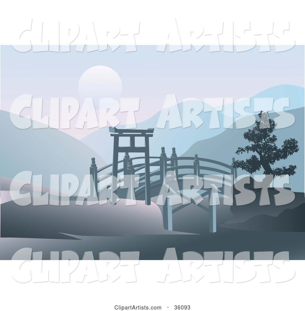Asian Footbridge Spanning Through Hills with a Full Moon over Mountains