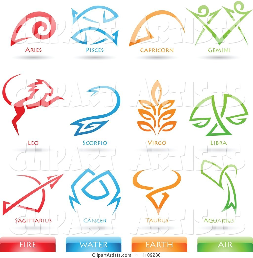 Astrology Star Signs and Fire Water Earth Air Elements Icons