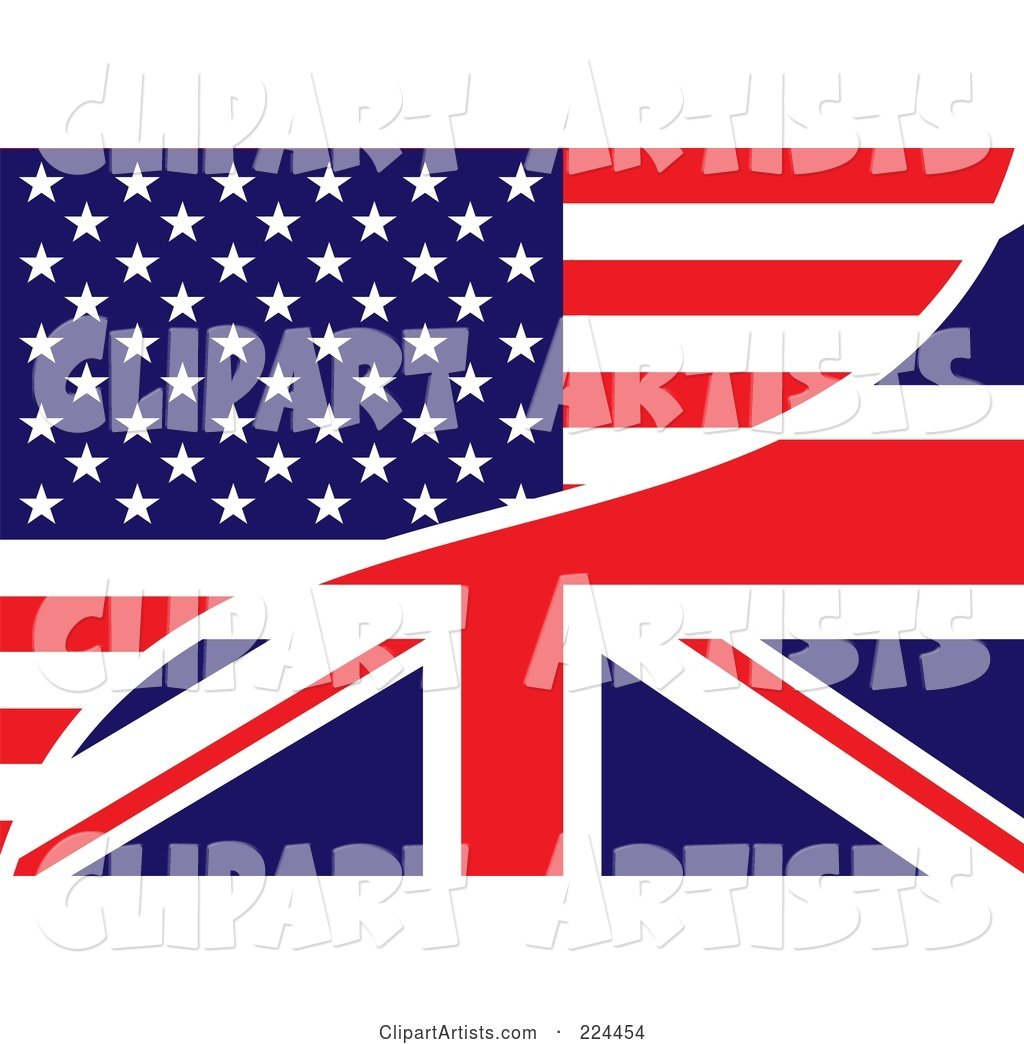 Background of a USA and UK Flag