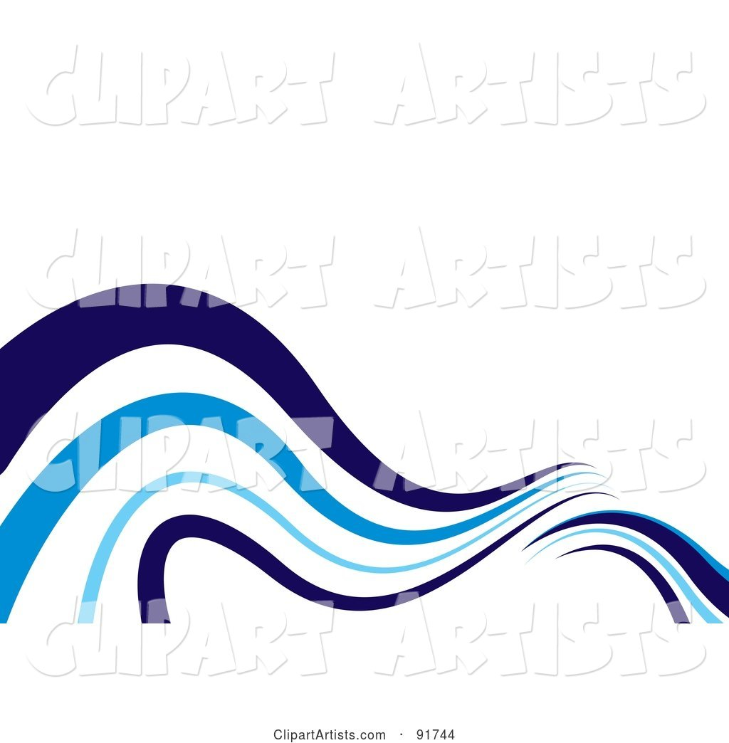 Background of Blue Waves on White - Version 3