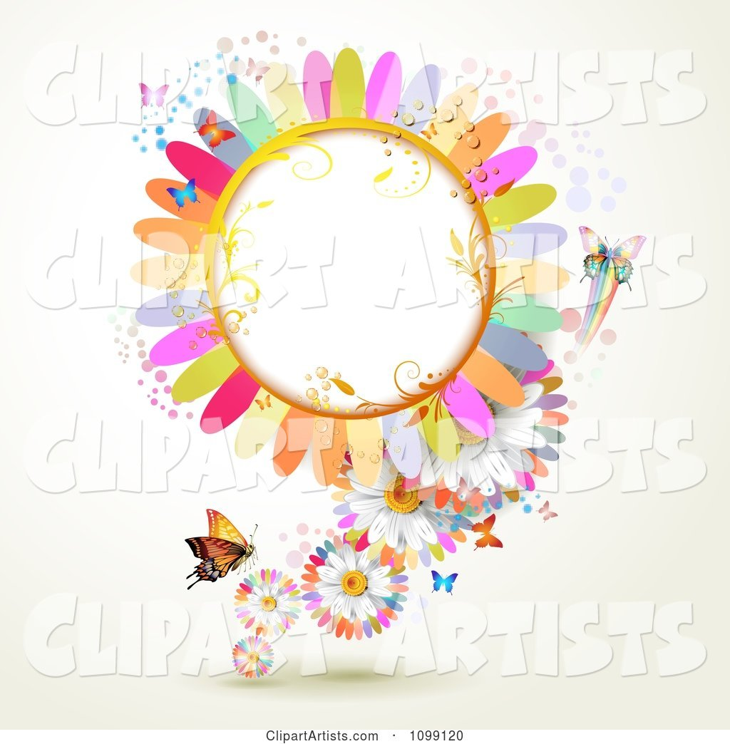 Background of Butterflies with Colorful Flower Petals and a Frame