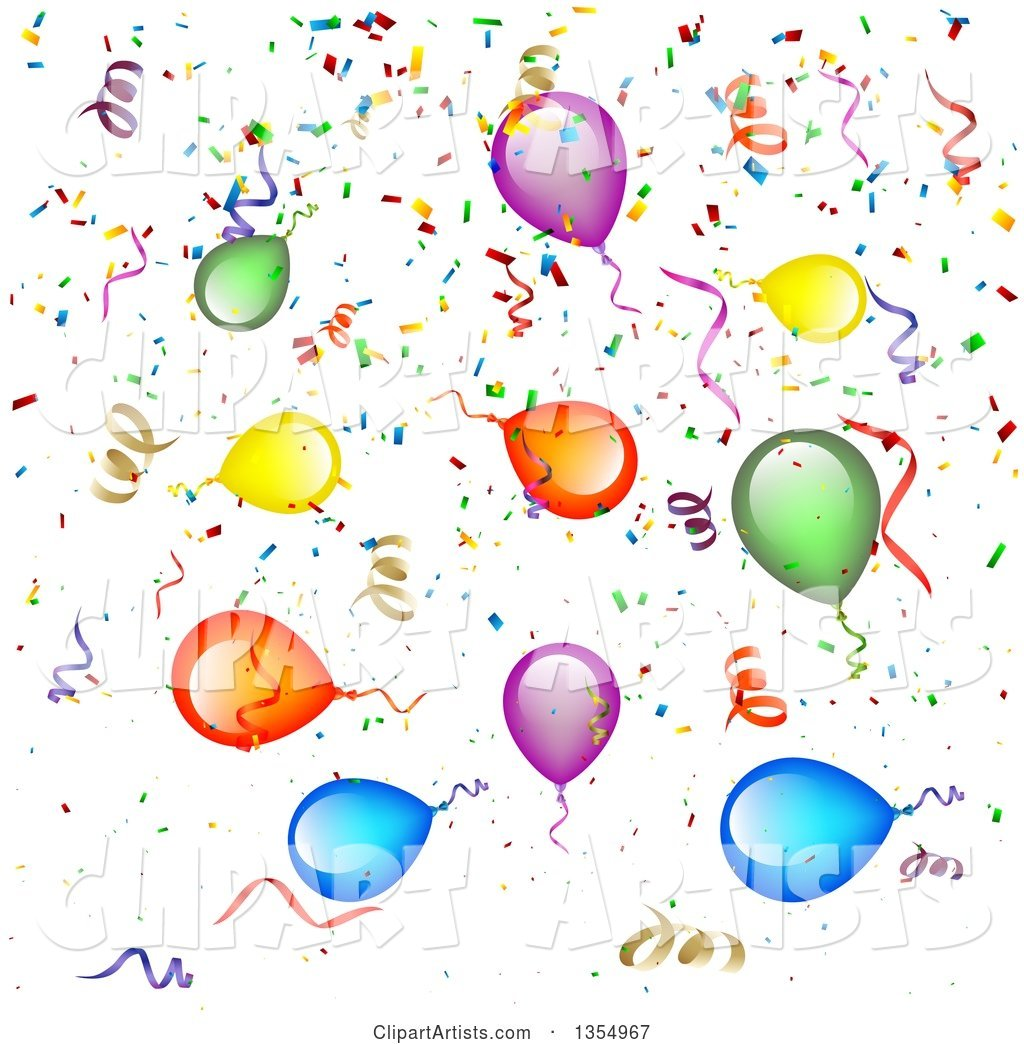 background of colorful party balloons  streamers and clip art of balloons and confetti clip art of balloons free images