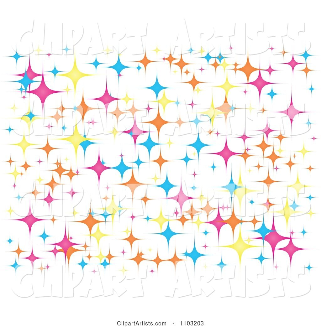 Background of Colorful Star Sparkles on White