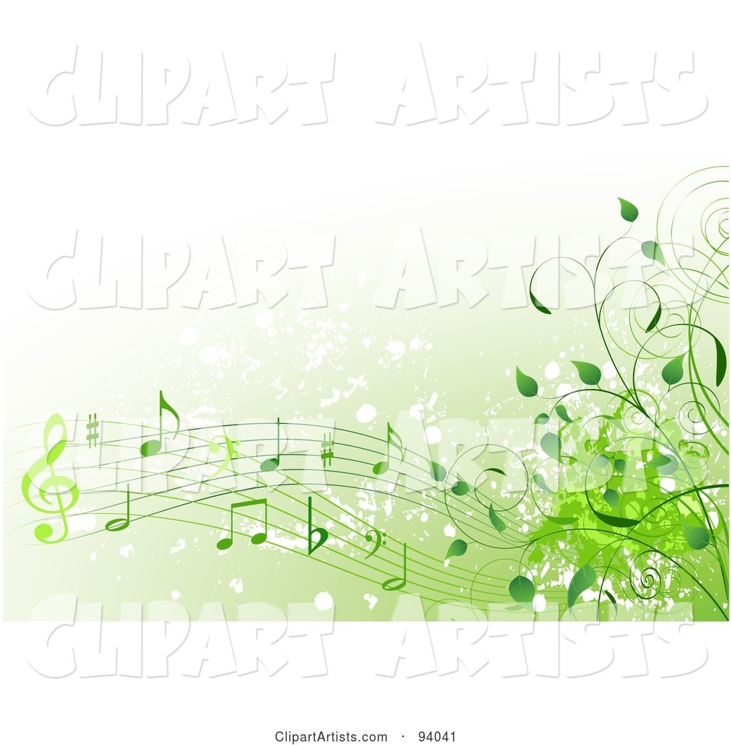 Background of Green Music Notes and Vines