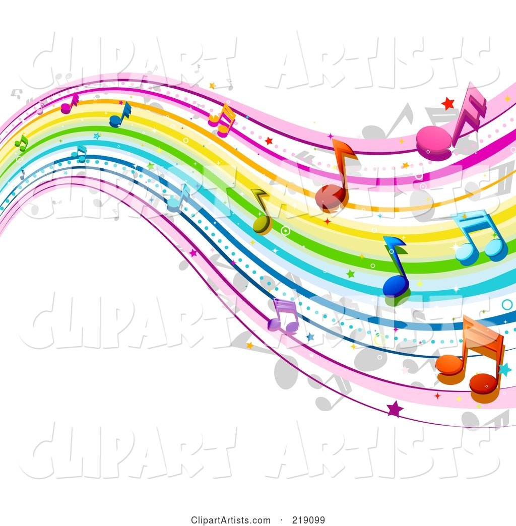 Background of Rainbow Music Waves