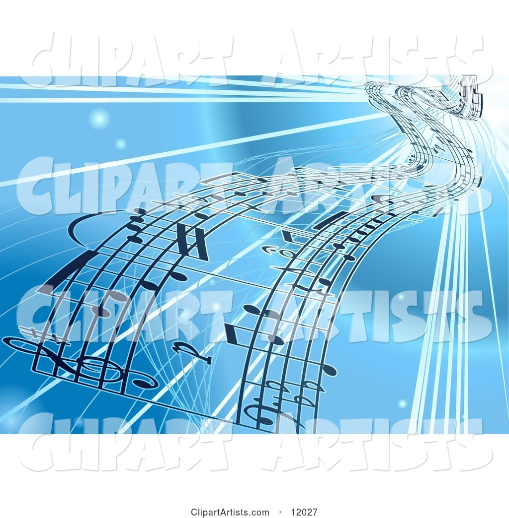 Background of Sheet Music over Blue