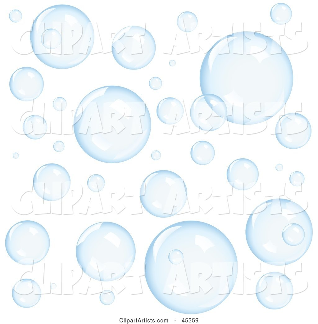 Background of Transparent Blue Floating Bubbles