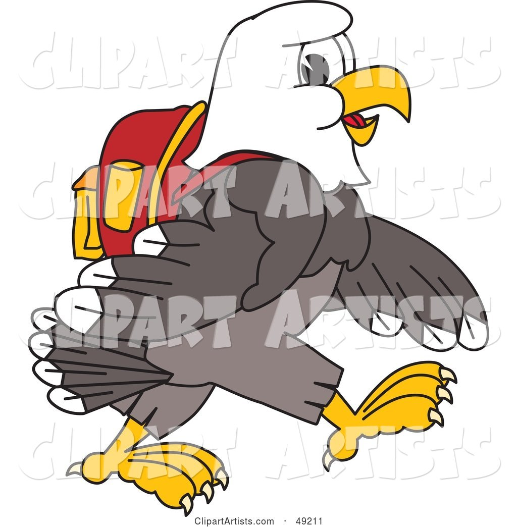 Bald Eagle Character Walking and Wearing a Backpack