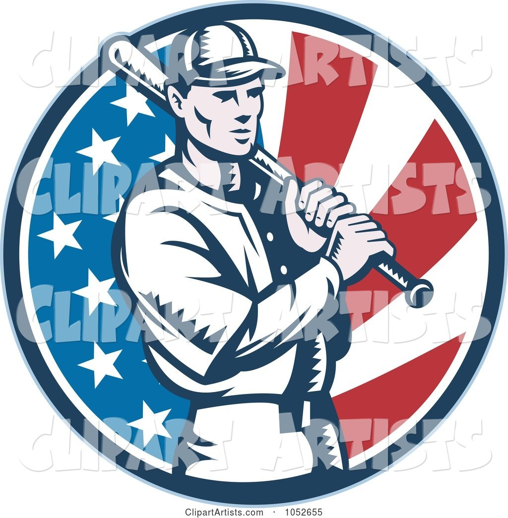 Baseball Player Batting over an American Flag Circle